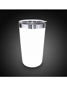 Tumbler Metal White Medium 16 Oz