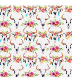 Watercolors Bulls Skull Flowers Glitter Vinyl