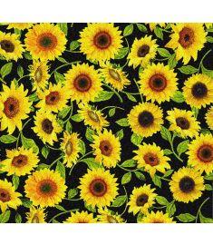 Sunflowers Black Glitter Vinyl