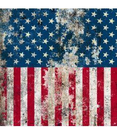 American Flag Broken Sign Vinyl