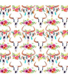 Watercolors Bulls Skull Flowers Sign Vinyl
