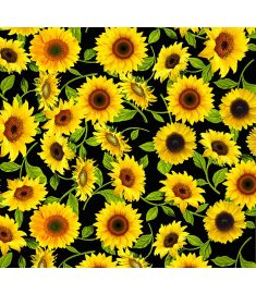 Sunflowers Black Sign Vinyl