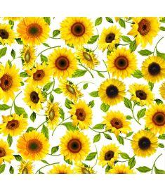 Sunflowers White Sign Vinyl