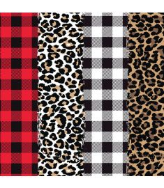 Plaids And Leopard Mix II Sign Vinyl