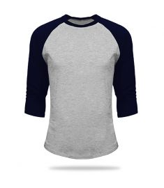 T Shirt Baseball Grey And Navy